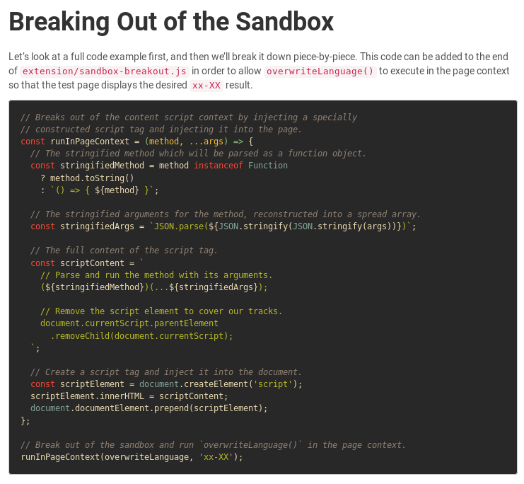 Breaking Out of the Chrome/WebExtension Sandbox